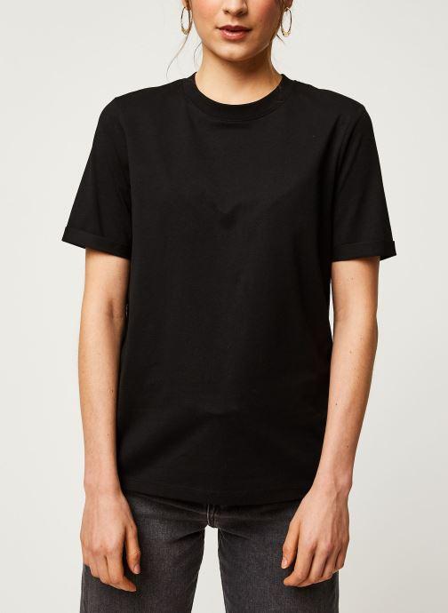 Vêtements Pieces T-Shirt Pcria Ss Fold Up Solid Tee Noos Bc Noir vue droite