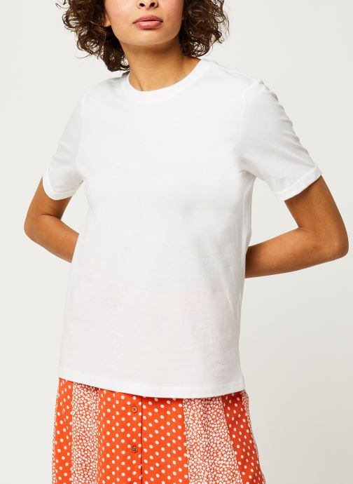Vêtements Pieces T-Shirt Pcria Ss Fold Up Solid Tee Noos Bc Blanc vue droite