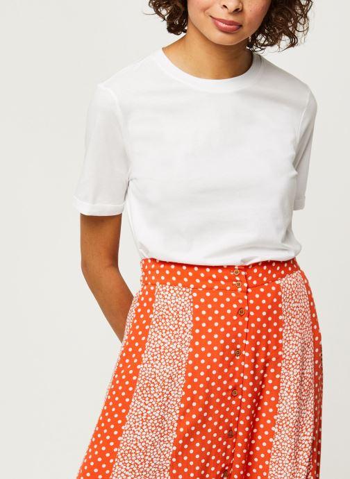 Vêtements Pieces T-Shirt Pcria Ss Fold Up Solid Tee Noos Bc Blanc vue détail/paire