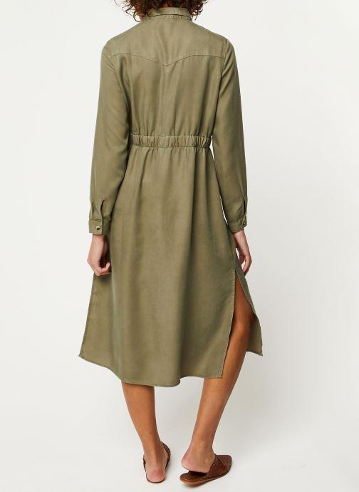 Vêtements Pieces Dresses Pcnola Ls Midi Lyocell Shirt Dress-Bi Bc Vert vue portées chaussures