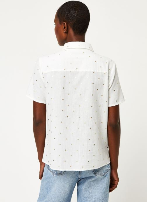 Vêtements Pieces Shirt Pcneya Ss Shirt Kac Fc Blanc vue portées chaussures