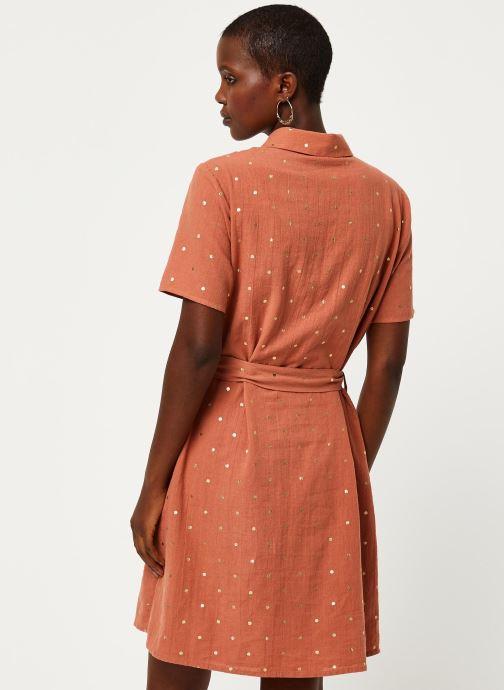 Vêtements Pieces Dresses Pcneya Ss Shirt Dress Kac Fc Marron vue portées chaussures