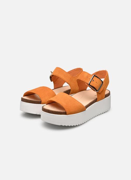 Sandales et nu-pieds Clarks Botanic Strap Orange vue bas / vue portée sac