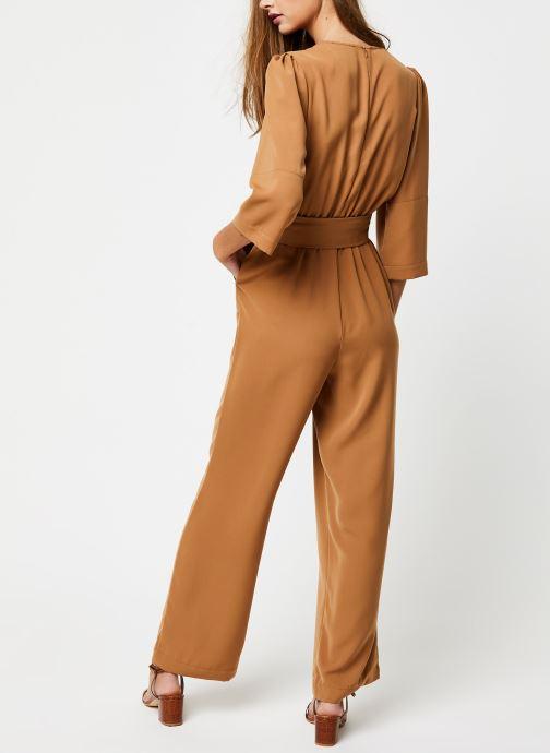 Vêtements Selected Femme Slfjill 3/4 Jumpsuit Marron vue portées chaussures