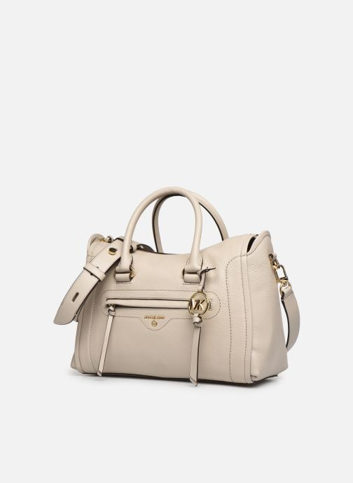 Handtaschen Michael Michael Kors CARINA SATCHEL beige schuhe getragen