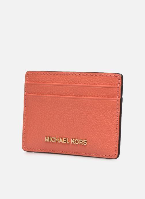 Marroquinería pequeña Michael Michael Kors JET SET  CARD HOLDER Naranja vista del modelo