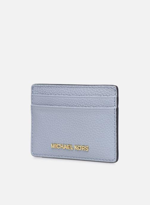 Pelletteria Michael Michael Kors JET SET  CARD HOLDER Azzurro modello indossato