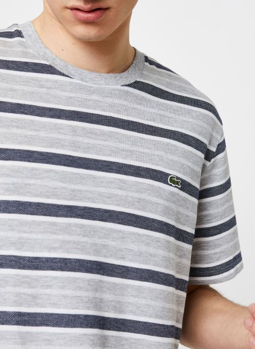Kleding Lacoste Tee-Shirt Rayures Manches Courtes Grijs voorkant