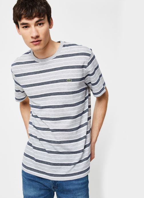 Kleding Lacoste Tee-Shirt Rayures Manches Courtes Grijs detail