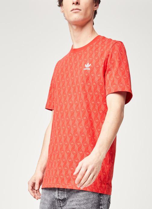 Vêtements adidas originals Mono Aop Tee Rouge vue détail/paire