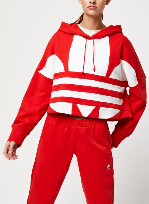 Vêtements adidas originals Lrg Logo C-Hood Rouge vue droite