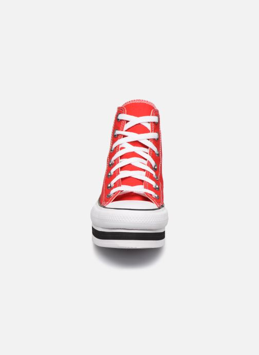 Baskets Converse Chuck Taylor All Star Layer Bottom Everyday Ease Hi Rouge vue portées chaussures