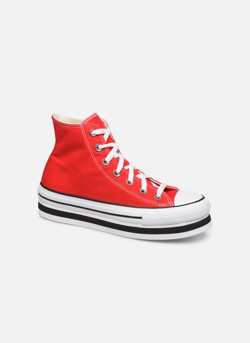 Baskets Converse Chuck Taylor All Star Layer Bottom Everyday Ease Hi Rouge vue détail/paire
