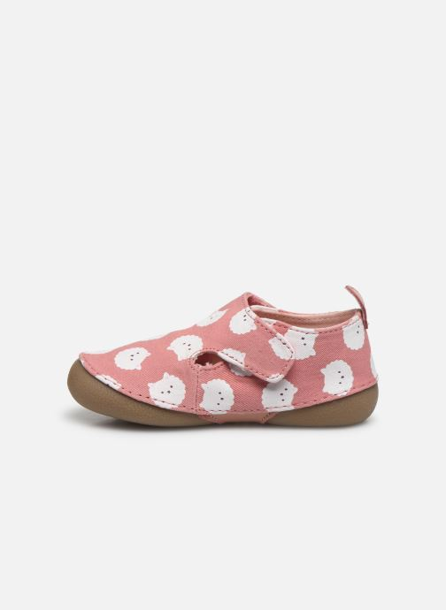 Pantofole Vertbaudet BB- Chaussons toile AOP mouton Rosa immagine frontale