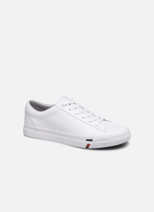 Baskets Tommy Hilfiger CORPORATE LEATHER SNEAKER Blanc vue détail/paire