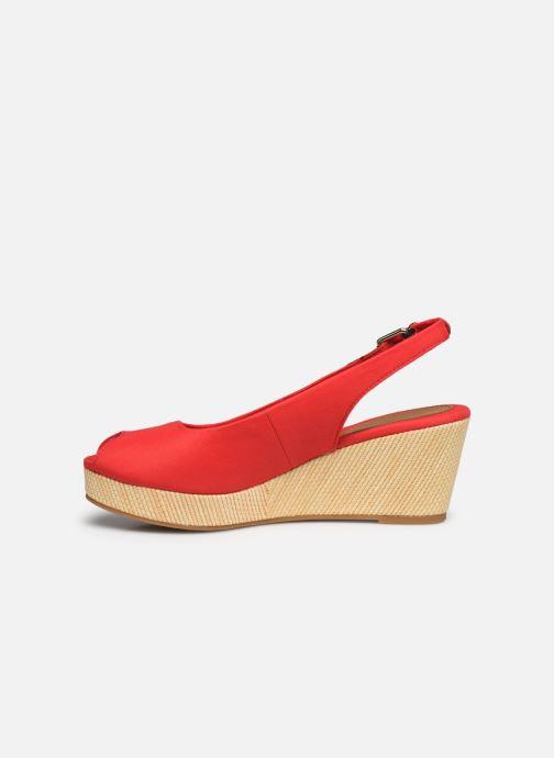 Sandales et nu-pieds Tommy Hilfiger ICONIC ELBA SLING BACK WEDGE Rouge vue face