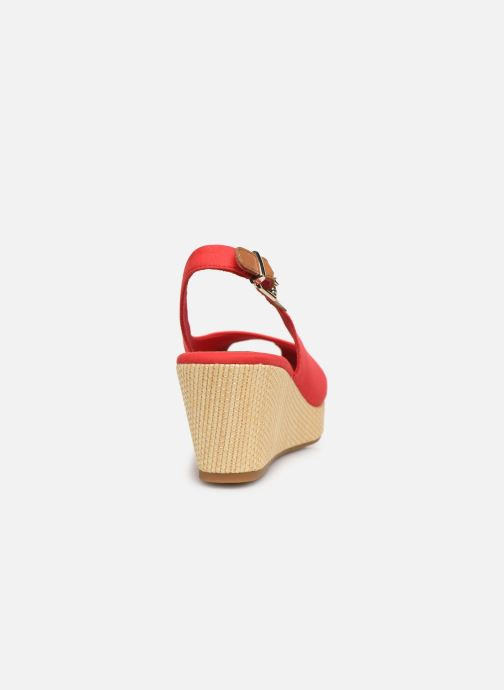 Sandalias Tommy Hilfiger ICONIC ELBA SLING BACK WEDGE Rojo vista lateral derecha