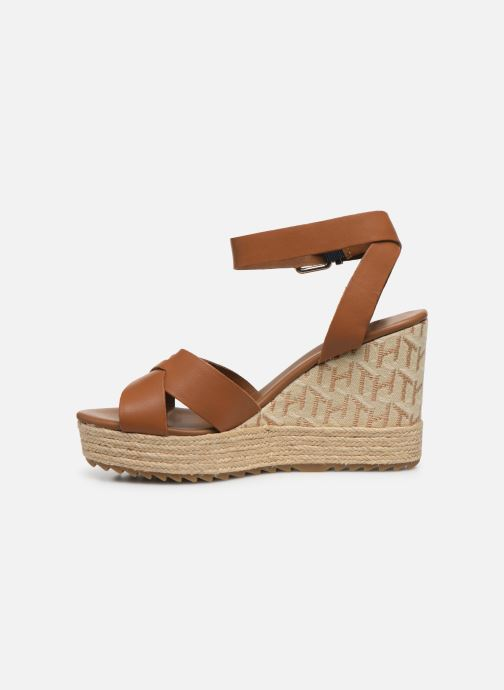 Sandali e scarpe aperte Tommy Hilfiger TH RAFFIA HIGH WEDGE SANDAL Marrone immagine frontale