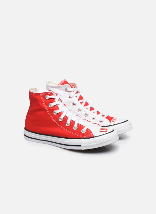 Baskets Converse Chuck Taylor All Star Love Fearlessly Hi Rouge vue 3/4