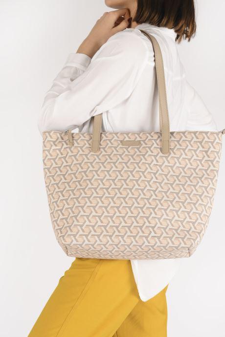 Sacs à main Hexagona SIGNATURE CABAS ZIPPE Beige vue bas / vue portée sac