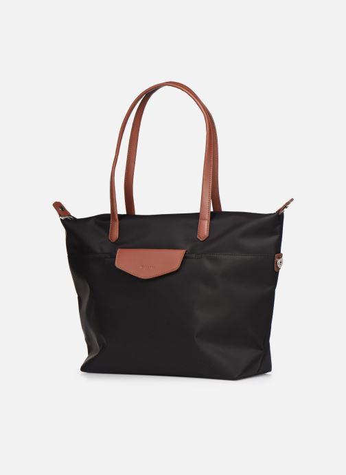 Handtaschen Hexagona Cabas Nylon Porté EPAULE schwarz schuhe getragen