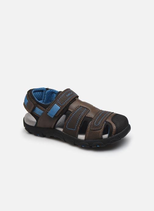 Sandaler Geox Jr Sandal Strada J0224D Brun detaljeret billede af skoene