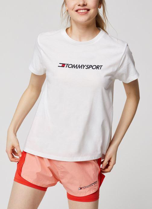 Kleding Tommy Sport Cotton Mix Chest Logo Top W Wit detail
