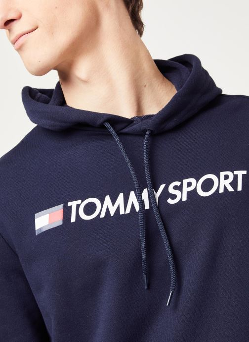 Vêtements Tommy Sport Fleece Hoody Logo Hbr Bleu vue face