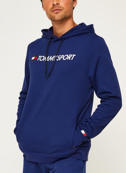 Vêtements Tommy Sport Fleece Hoody Logo Hbr Bleu vue droite