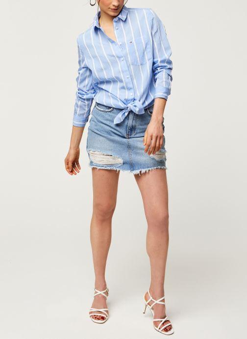 Vêtements Tommy Jeans TWJ Front Knot Shirt Bleu vue bas / vue portée sac