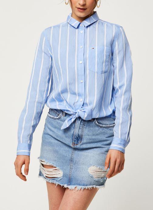 Vêtements Tommy Jeans TWJ Front Knot Shirt Bleu vue droite