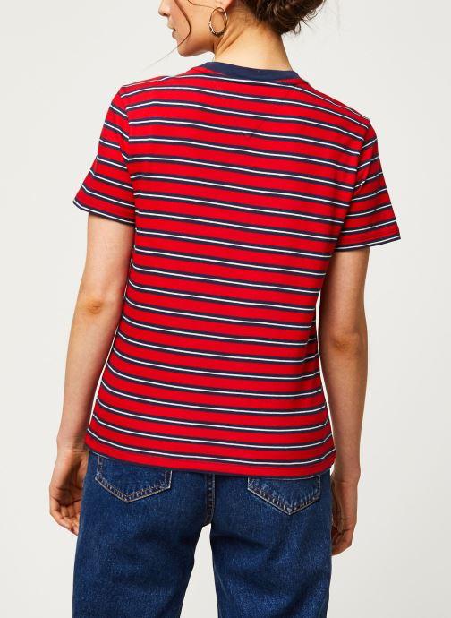 Vêtements Tommy Jeans TWJ Tommy Classics Stripe Tee Rouge vue portées chaussures