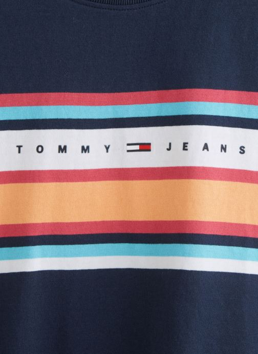 Vêtements Tommy Jeans TWJ Stripe Logo Tee Bleu vue portées chaussures