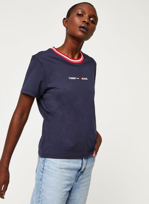 Tøj Tommy Jeans TWJ Contrast Rib Logo Tee Blå Se fra højre