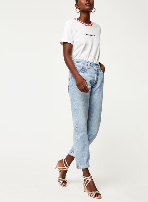 Tøj Tommy Jeans TWJ Contrast Rib Logo Tee Hvid se forneden