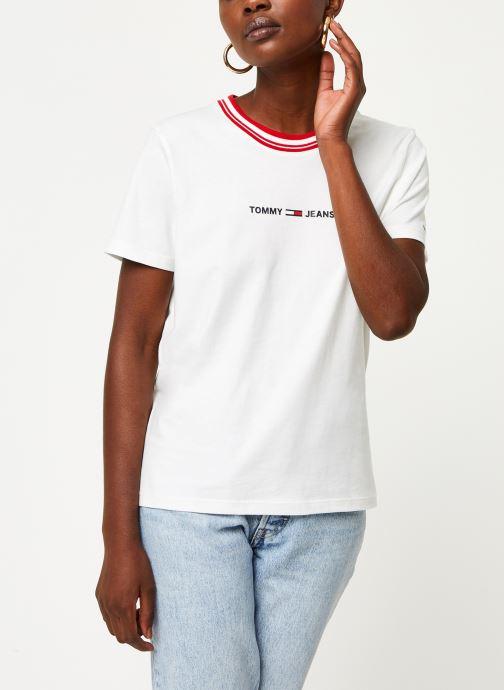 Tøj Tommy Jeans TWJ Contrast Rib Logo Tee Hvid Se fra højre