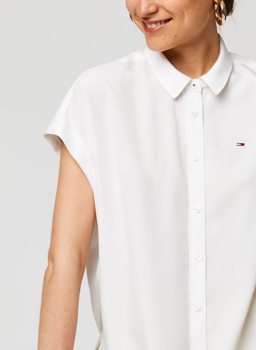 Vêtements Tommy Jeans TWJ Roll Up Sleeve Shirt Blanc vue face