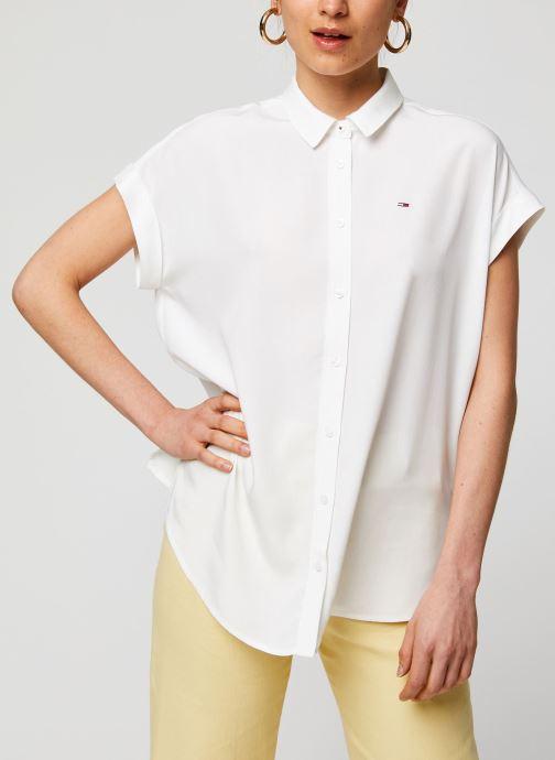 Vêtements Tommy Jeans TWJ Roll Up Sleeve Shirt Blanc vue droite
