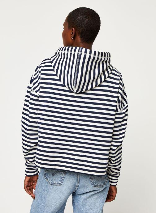 Vêtements Tommy Jeans TWJ Stripe Hoodie Bleu vue portées chaussures
