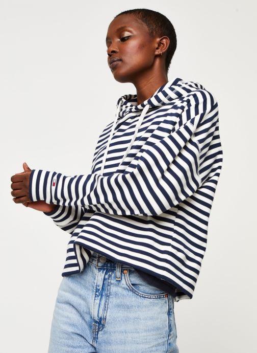 Vêtements Tommy Jeans TWJ Stripe Hoodie Bleu vue droite