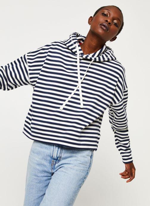 Vêtements Tommy Jeans TWJ Stripe Hoodie Bleu vue détail/paire
