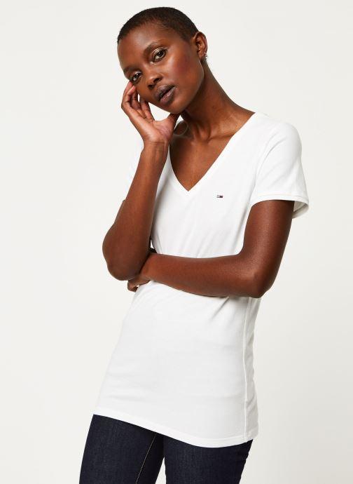 Tøj Tommy Jeans TWJ Shortsleeve Stretch Tee Hvid Se fra højre