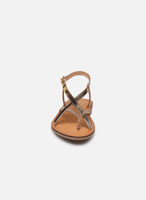 Sandales et nu-pieds Les Tropéziennes par M Belarbi CHOU Or et bronze vue portées chaussures