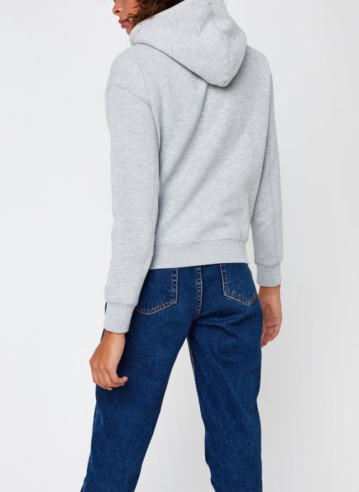 Vêtements Calvin Klein Jeans CK Embroidery Regular Hoodie Gris vue portées chaussures