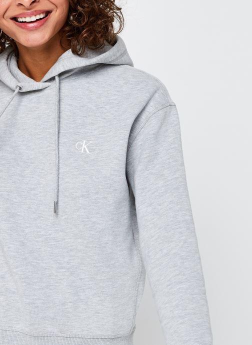 Vêtements Calvin Klein Jeans CK Embroidery Regular Hoodie Gris vue face