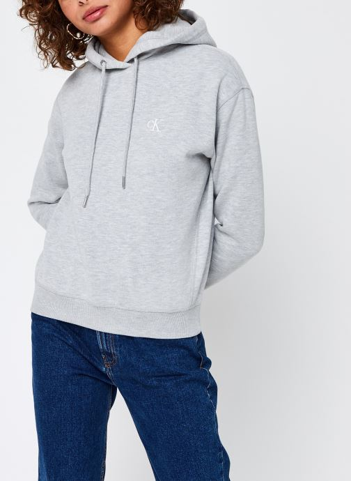 Vêtements Calvin Klein Jeans CK Embroidery Regular Hoodie Gris vue droite