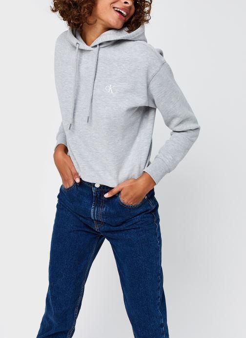 Vêtements Calvin Klein Jeans CK Embroidery Regular Hoodie Gris vue détail/paire