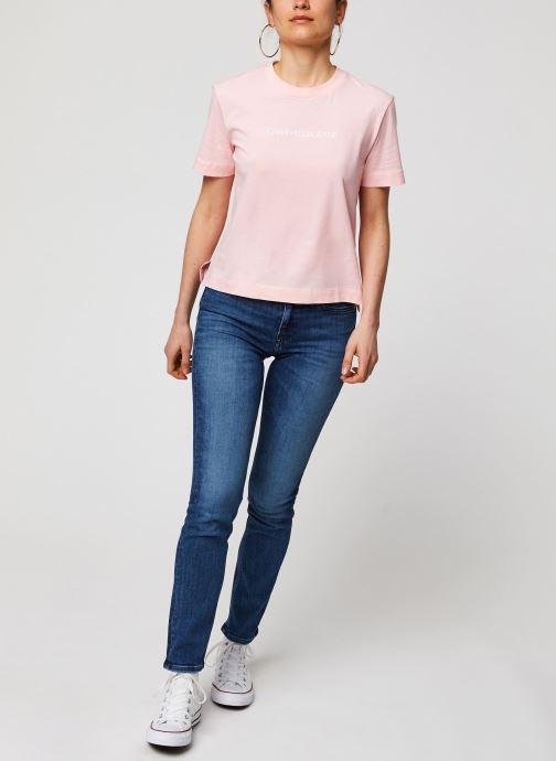 Vêtements Calvin Klein Jeans CKJ 021 Mid Rise Slim Bleu vue bas / vue portée sac