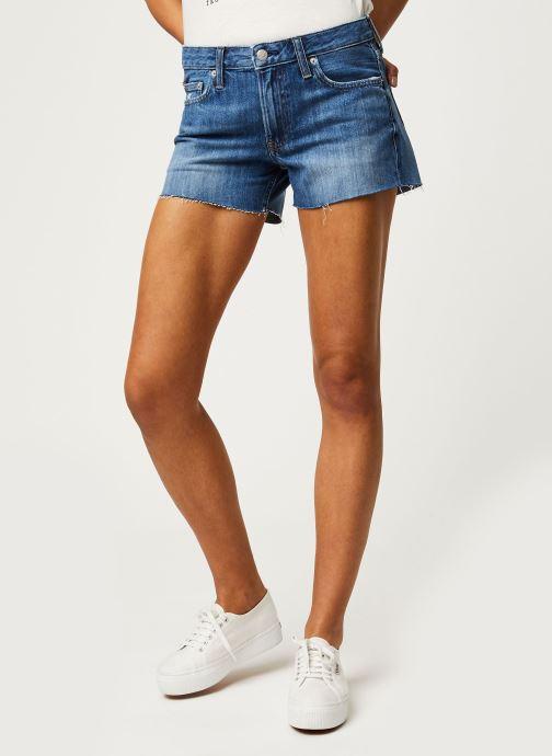 Vêtements Calvin Klein Jeans Mid Rise Short Bleu vue détail/paire