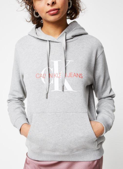 Vêtements Calvin Klein Jeans Monogram Relaxed Short Hoodie Gris vue droite